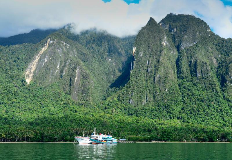 Les bateaux de l'expédition au pied des falaise karstique de la Nouvelle-Guinée. © IRD / Jean-Marc Porte