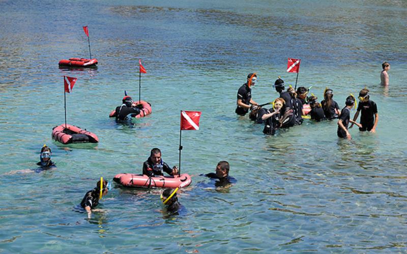 Les plongeurs se retrouvent autour des drapeaux pour échanger sur ce qu'ils ont pu voir dans l'eau ©Yvan Chocoloff