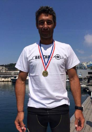 Patrick Poggi, médaille d'or d'apnée poids constant bi-palmes ©Emma Dulac