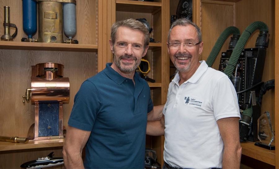 Lambert Wilson avec Robert Calcagno actuel directeur du musée océanographique © M.Dagnino – Musée océanographique de Monaco