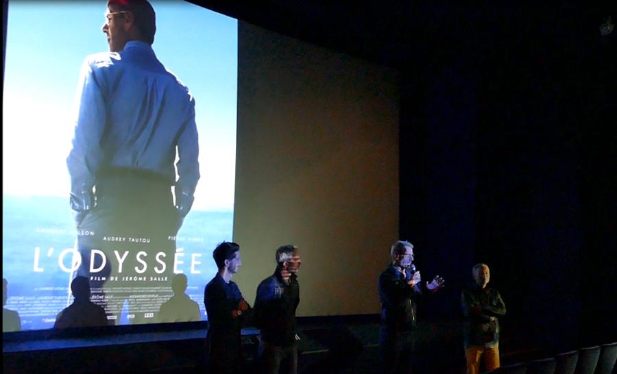 De gauche à droite, Pierre Niney, Jérôme Salle, Lambert Wilson au micro et Marc Missonier producteur © Dominique Barray