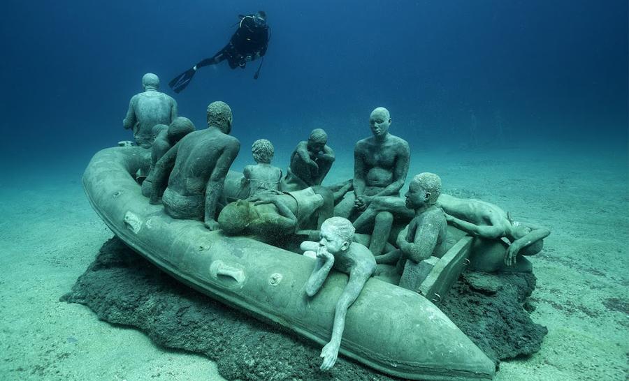 Sculptures du musée sous-marin Atlantico © Jason de Caires