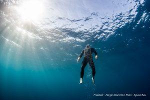Morgan Bourc'his durant un entrainement en mer. © Sylvain Bes