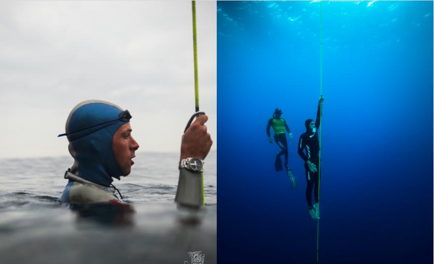 Stéphane Tourreau et Morgan Bourc'his pendant le Nice Abyss Contest 2017. Photo William Rhamey, Azur Diving.