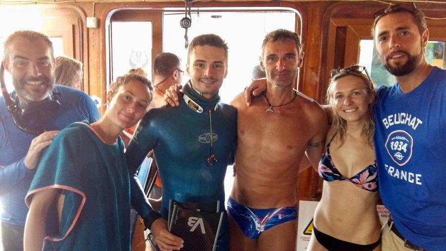 De gauche à droite : Arnaud Ponche (entraîneur), Charlotte Benoit, Arnaud Jerald, Christian Vogler (entraîneur), Alice Modolo et Arthur Guérin-Boëri.