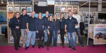 L'équipe du magazine Plongez ! présente sur le stand G10 pendant le 20ème salon de la plongée.