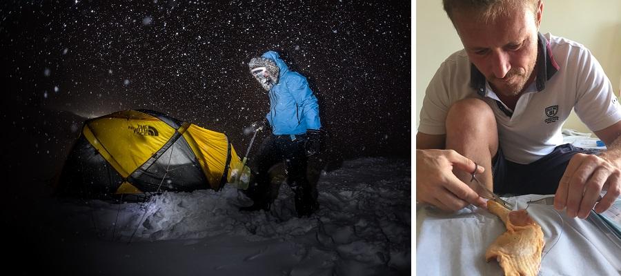 Pendant 3 mois, Alban Michon sera seul, une simple tente le protègera des températures extrêmes des nuits polaires. Pour être capable de se recoudre seul en cas de blessure, il s'est entraîné a faire des points de suture sur des cuisses de poulet. @ Andy Parant