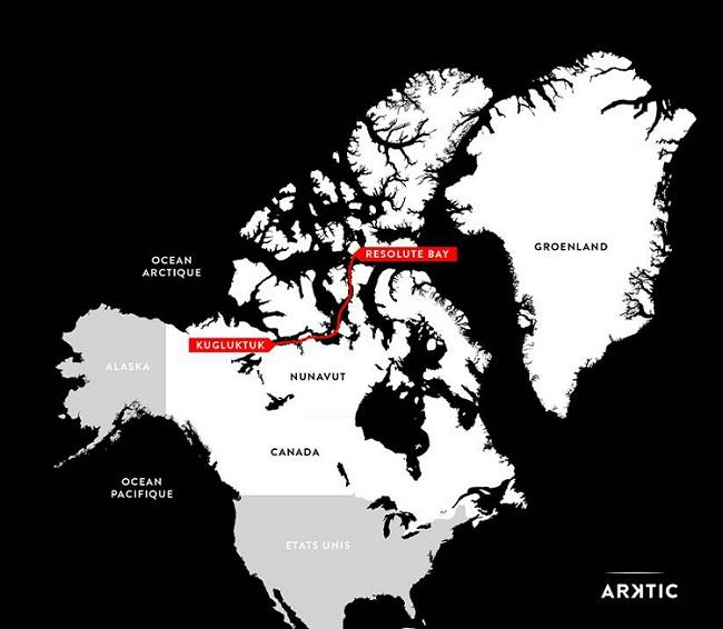 L'itinéraire d'Alban Michon pendant l'expédition Arktic