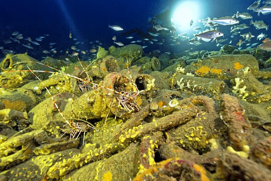 À plus de 100 mètres de profondeurs les plongeurs atteignent de véritables trésors tel que ce champs d'amphores. © Roman Simcisko