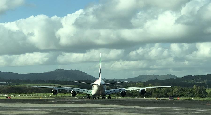 Un A380 sur le tarmac de l'aéroport de l'île Maurice.